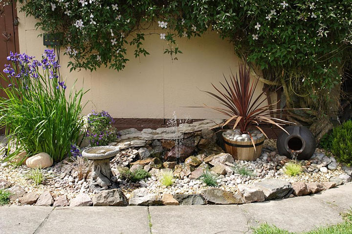 low-maintenance garden with water fountain and purple iris
