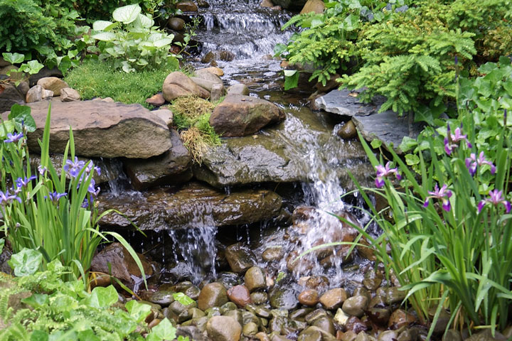 waterfall at a Cleveland, Ohio botanical garden