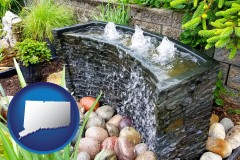 connecticut map icon and bubbling water feature in a landscape