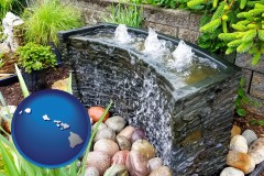 hawaii map icon and bubbling water feature in a landscape