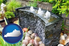 kentucky map icon and bubbling water feature in a landscape