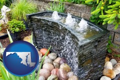 maryland map icon and bubbling water feature in a landscape