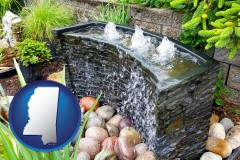 mississippi map icon and bubbling water feature in a landscape