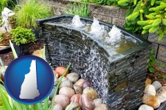 new-hampshire map icon and bubbling water feature in a landscape