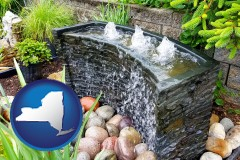 new-york map icon and bubbling water feature in a landscape