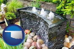 oklahoma map icon and bubbling water feature in a landscape
