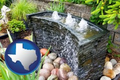 texas map icon and bubbling water feature in a landscape