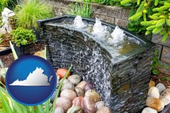 virginia map icon and bubbling water feature in a landscape