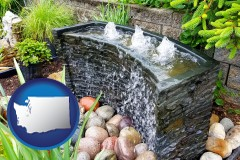 washington map icon and bubbling water feature in a landscape