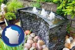 wisconsin map icon and bubbling water feature in a landscape