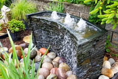 bubbling water feature in a landscape
