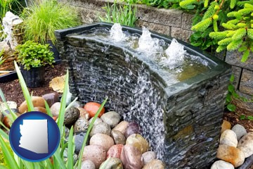 bubbling water feature in a landscape - with Arizona icon