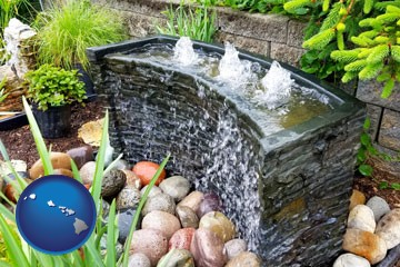 bubbling water feature in a landscape - with Hawaii icon