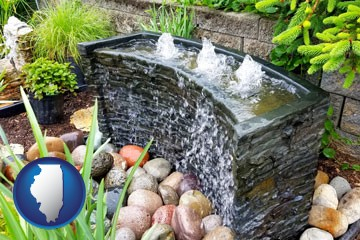 bubbling water feature in a landscape - with Illinois icon