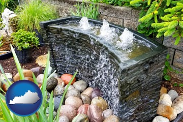 bubbling water feature in a landscape - with Kentucky icon