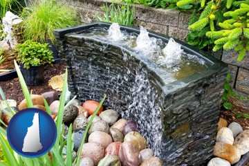 bubbling water feature in a landscape - with New Hampshire icon