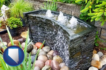bubbling water feature in a landscape - with Nevada icon
