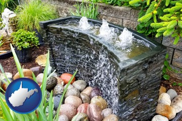 bubbling water feature in a landscape - with West Virginia icon